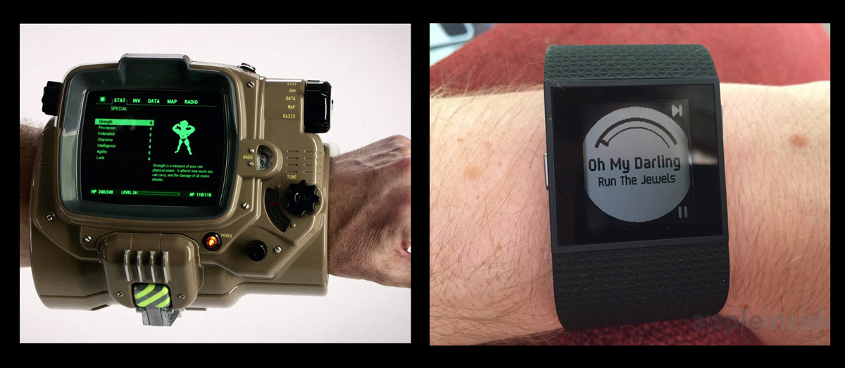 Pipboy vs Fitbit Surge: BIG DATA (sizes may be slightly exaggerated)